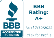 BBB accredited business. BBB rating: A+ as of 7/19/2020. Click for profile